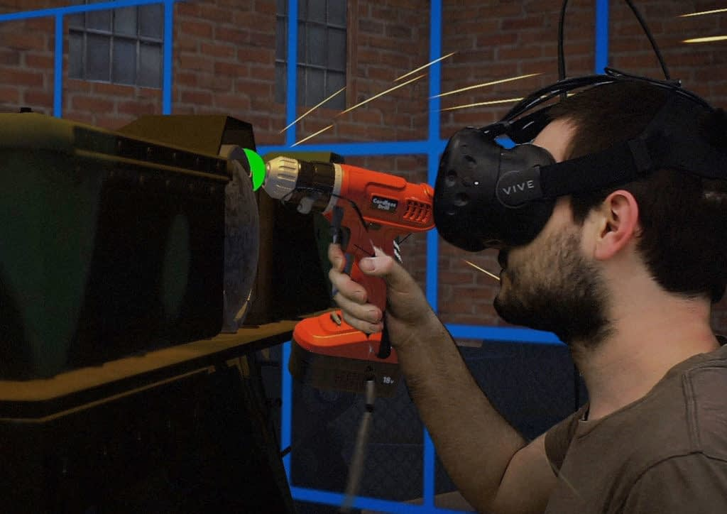 Zubr virtual production realtime mixed reality capture of a VR user repairing a tank