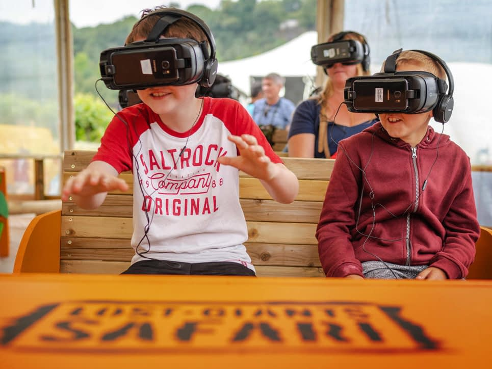 Kids enjoying a virtual reality installation at the Eden Project