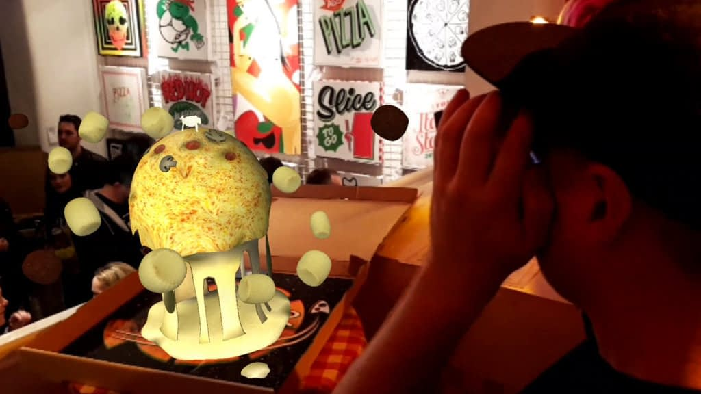 Kidcrayon tries Zubr augmented reality pizza experience art installation in Bristol